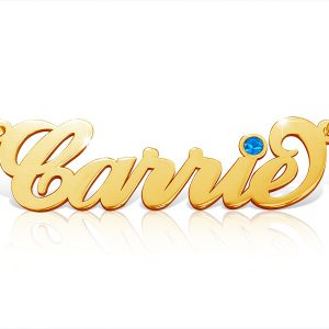 Carrie Birthstone, Name Necklace 18k Gold Plated