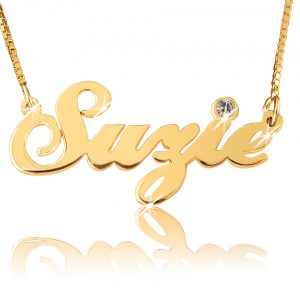 18k Gold Plated Customized Birthstone Name Necklace - Script Bold!-0