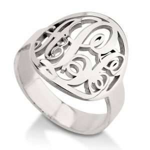 Monagrams Ring, Silver Monogram Ring