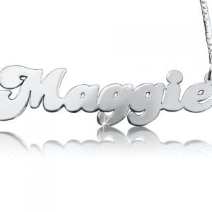 Retro Style Name Necklace in Sterling Silver-0