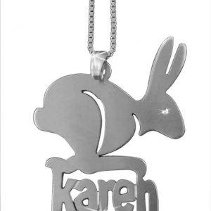 Rabbit Pendant, Silver Name Necklace