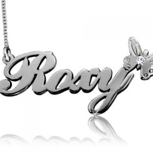 Roxy Butterfly, White Gold Name Necklace