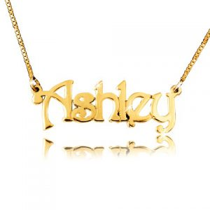 Small Swirl Print, Gold Name Necklace