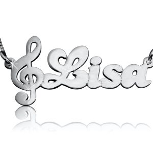 Name Necklace, Silver Clef Necklace With Name