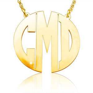 Monogram Necklace, Gold Plated Monogram