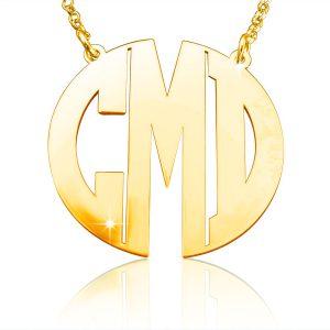 Monogram Necklace, Gold Plated Monogram