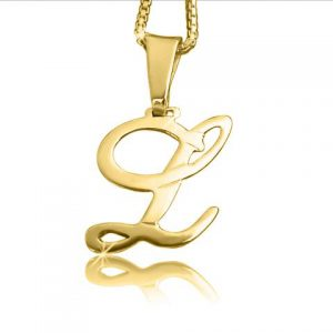 Cursive, Gold Plated Initial Necklace