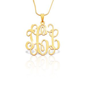 Small Vine 18k Gold Plated Monogram Necklace -0