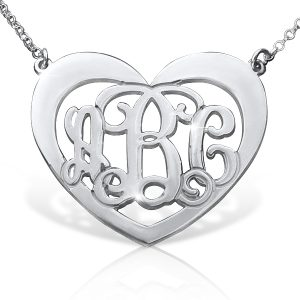 Monogram Necklace, Silver Heart Necklace