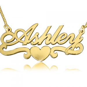 Ashley Heart, Solid Gold Name Necklace
