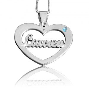 Birthstone Heart, Pendant Name Necklace