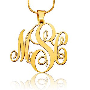 Mongram Necklace, Gold Plated Mongram