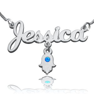 Hamsa Birthstone, Name Necklace