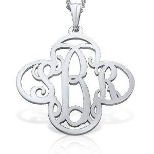 Silver Cross, Monogram Necklace