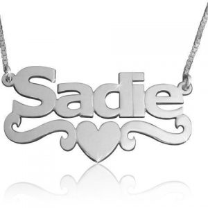 14k White Gold Name Necklace, Heart Name Necklace