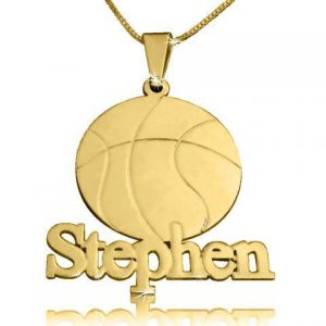 Boyfriend Gift, Gold Basketball Necklace