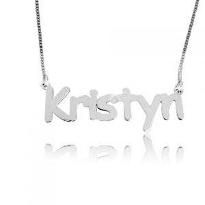Silver Print, Silver Name Necklace