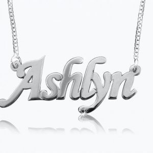 Corsiva Print, White Gold Name Necklace