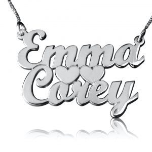Couples Love Silver Name Necklace