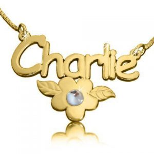 Charlie Flower Genuine Diamond Name Necklace