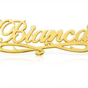 Bianca Style Accent Name Necklace in Solid 14k Gold-0