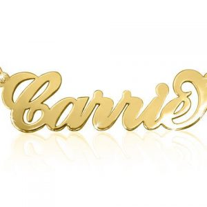 14k Gold Name Necklace, Carrie Necklace