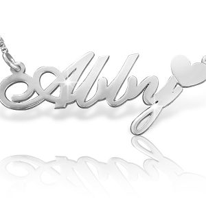 White Gold Name Necklace, Heart Necklace