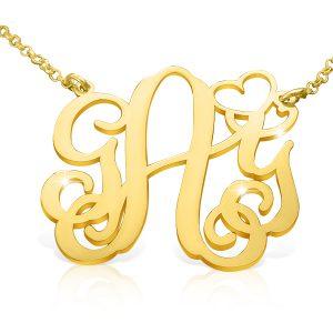 18k Gold Plated Vine Heart Monogram Necklace-0