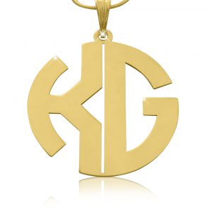 Monogram Necklace, Gold Plated Monagram Necklace