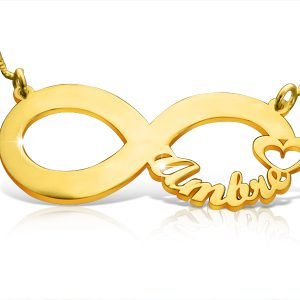 Infinity Symbol With Heart Necklace Gold Plated