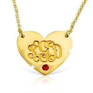Gold Plated Heart Birthstone, Monagram Necklace