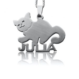 Cat Nameplate Silver Name Necklace-0