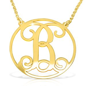 18k Gold Plated Circle Initial Necklace