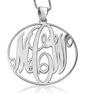 Silver Classic Circle Monogram Necklace