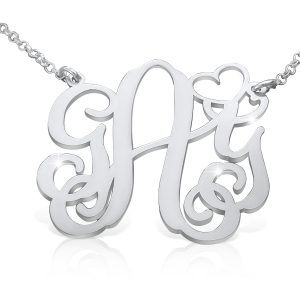 Heart Style, Sterling Silver Monagram Necklace