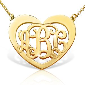 Heart Pendant Monogram Necklace Gold Plated