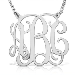 Large Sterling Silver, Monogram Necklace