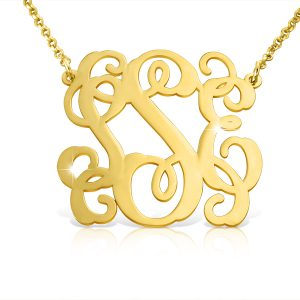 Open Solid 14k Gold Vine Monogram Necklace