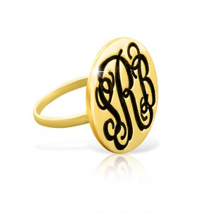 Classic Disc Monogram Signet Ring Gold Plated