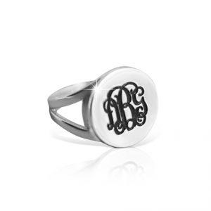 Monogram Ring, Silver Ring For Women