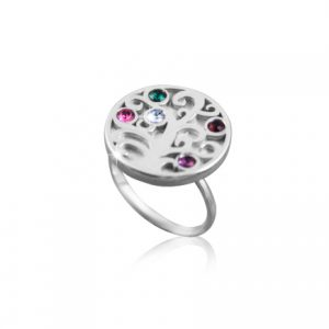 Round Tree Of Life Birthstone Ring-0