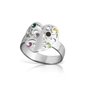 Family Heart Ring with Birthstones -0