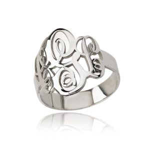 Silver Monogram Ring, Silver Woman's Ring