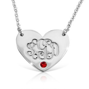 Silver Heart Birthstone, Monogram Necklace