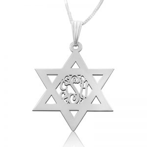 Sterling Silver Star of David, Monogram Necklace
