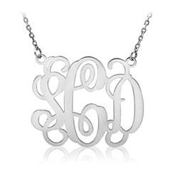 Vine Solid, White Gold Monogram Necklace