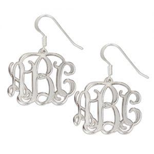 Sterling Silver Vine Style Monogram Earrings-0