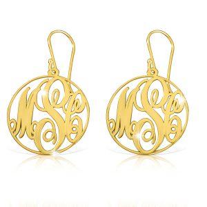 18k Gold Plated Circle Frame Monogram Earrings-0