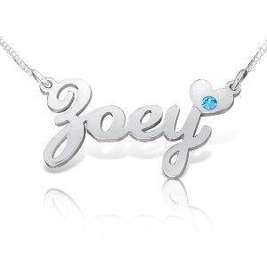 Child Size Name Necklace, Kids Name Necklace in Silver